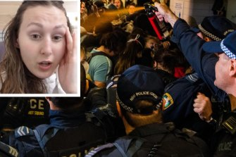 Jane Margaret (inset) recovers after allegedly being sprayed with pepper spray following the Sydney rally on Saturday.