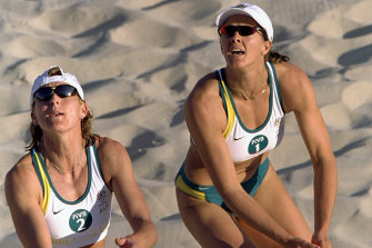 Kerry Pottharst and Natalie Cook, pictured at the Sydney Olympics, fear a Brisbane bid for the Games may be in jeopardy.