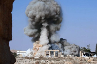 An Islamic State-released photo showing the destruction of Palmyra's 1900-year-old Baalshamin temple.