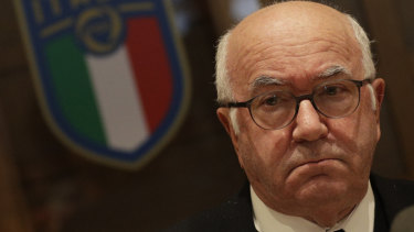 Italian football federation president Carlo Tavecchio gives a press conference.
