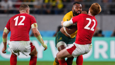 Samu Kerevi was thoroughly unlucky to be penalised for this run during the Wallabies' loss to Wales.