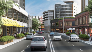 Artist's impression of how Pyrmont Bridge Road could look in the proposed revitalisation of the Parramatta Road corridor.