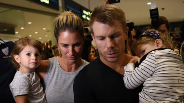 Warner and his family ahead of his infamous press conference after the South African scandal.