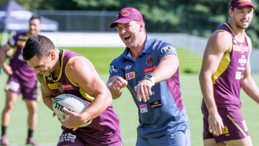 Surplus to requirements: Then assistant coach Jason Demetriou with Kodi Nikorima at training earlier this year.
