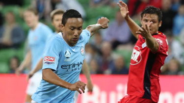 Kearyn Baccus in action for Melbourne City during the Round 25 A-League match against Adelaide United at AAMI Park.