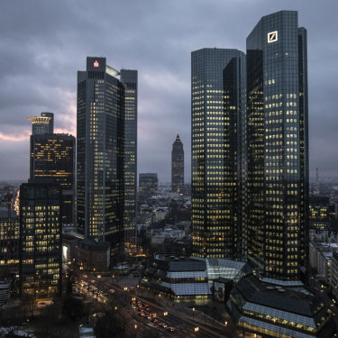 The twin tower skyscraper headquartes of Deutsche Bank (right) in Frankfurt. The bank has sought to distance itself from President Trump since his election in 2016.