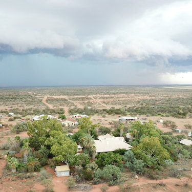 A storm brews over the Wooleen Homestead.