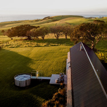 Marvel at the view of rolling lawns, lush pasture and a cow or three at The Shed in NSW's Gerroa.