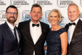 """Kip Wightman, Ashley """"Ash"""" Bradnam, Susie O'Neill and David """"Luttsy"""" Lutteral from Nova106.9's breakfast show at the 31st Australian Commercial Radio Awards in Brisbane."""