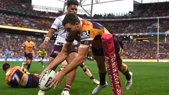 Brisbane claim home final as Oates scores four against hapless Manly