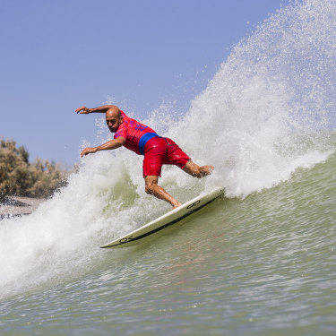 Kelly Slater surfs a man-made break at the 2018 Surf Ranch Pro in Lemoore.