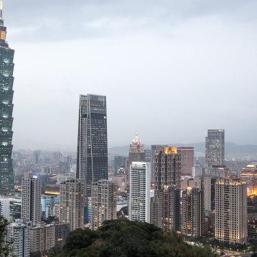 Taipei's skyline at dusk in January, 2021.