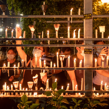 Candles are lit on June 4, 2020, in Hong Kong to commemorate the 31st anniversary of the Tiananmen Square crackdown.
