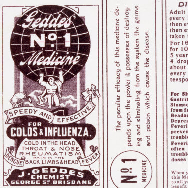 Geddes cold medicine label, prominent during the 1919 Spanish Flu outbreak in Brisbane.