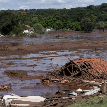 Homes lay in ruins after  a tailings dam collapsed at a Vale mine near Brumadinho, Brazil, on January 25.