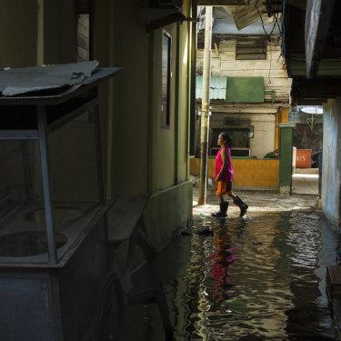 A neighborhood below sea level in 2017 in Jakarta.