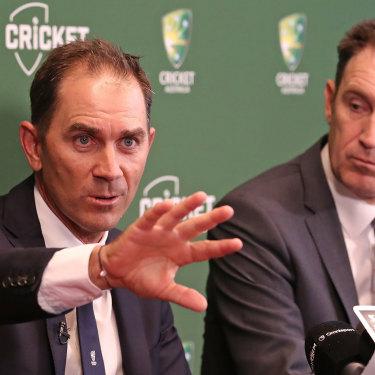 Australian coach Justin Langer, left, with Cricket Australia CEO James Sutherland.