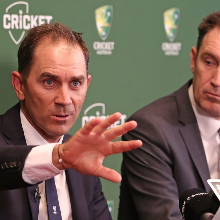 Australian coach Justin Langer, left, with Cricket Australia CEO James Sutherland.