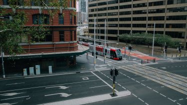 Rawson Place, near Sydney's Central Station, was deserted on Wednesday.