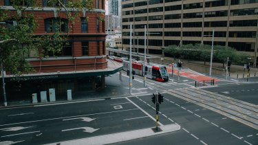 The normally busy Rawson Place, near Sydney's Central Station, was deserted on Wednesday as the city shuts down.