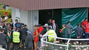 The view from the Birdcage after Admire Rakti died following the 2014 Melbourne Cup.