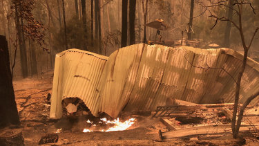 A house destroyed by fire in Mallacoota near the border of Victoria and NSW.