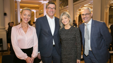 (L-R) The State Library's Kate Torney, John Wylie, wife Myriam Boisbouvier-Wylie and Creative Industries Minister Danny Pearson in May this year.