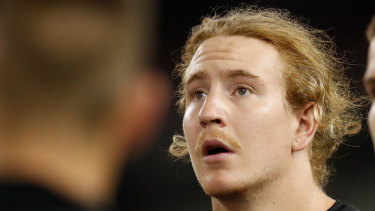 Beau McCreery looks on during Collingwood's clash with the Brisbane Lions on Thursday.