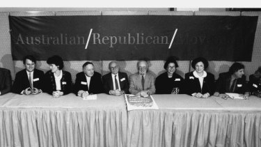 The press conference for the launch of the Australian Republican Movement.