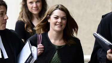 Greens senator Sarah Hanson-Young arrives at court on Wednesday.