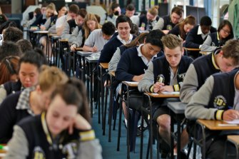 Students sitting the VCE English exam.