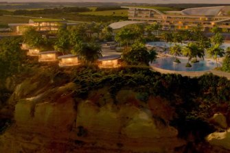 The Twelve Apostles features a sprawling CGI clifftop hotel.
