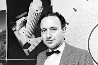 Architect Harry Seidler with a diagram of his Australia Square building on 15 August 1964.