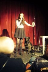 With  dog Dukdik for the  first time on stage, at Sydney's the Factory Theatre in 2015.