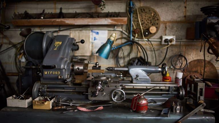 Man at work: Detail from clock collector and restorer Ken Hose's garage workshop below his Mitcham house.