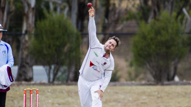 Wests-UC's Michael Minns rolls the arm over.