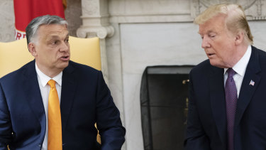 Hungarian Prime Minister Viktor Orban, left, and US President Donald Trump during a meeting at the White House.