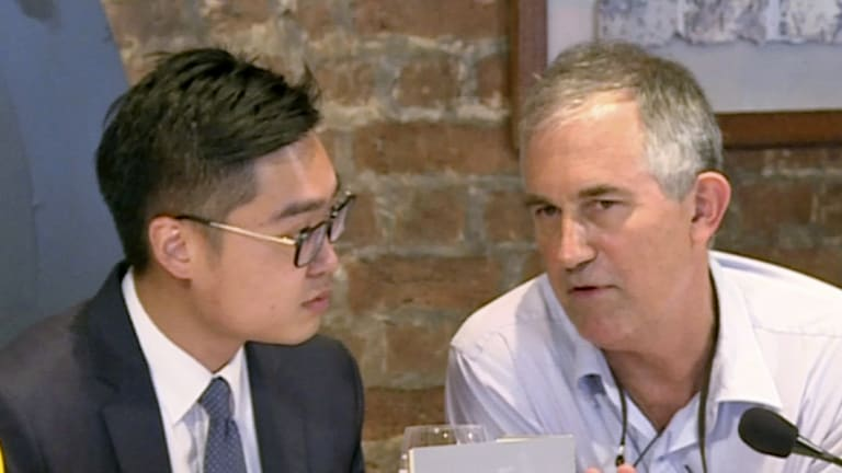 The Financial Times Asia news editor, Victor Mallet, right, speaks with Andy Chan, founder of the Hong Kong National Party, during a luncheon at the Foreign Correspondents Club in Hong Kong in August.