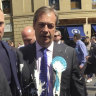 Britain's Nigel Farage after being hit with a milkshake during a campaign walkabout in Newcastle, England.