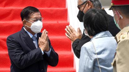 Red carpet for junta leader as ASEAN leaders claim agreement on Myanmar crisis