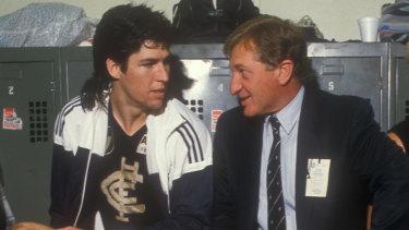 Carlton captain Stephen Kernahan with John Elliott in 1988.