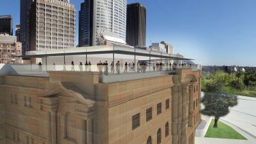 Artist's impression of a proposed rooftop restaurant on the State Library.