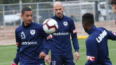 Hot form: Melbourne Victory at training ahead of the derby.