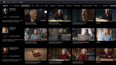 The MasterClass library: David Lynch, Jodie Foster, Margaret Atwood and others.