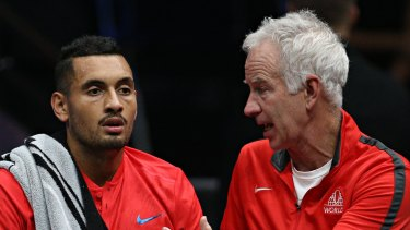 Tips from the master: John McEnroe talking to Nick Kyrgios during the Laver Cup in 2017.