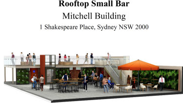 An artist's impression of a planned rooftop small bar atop the State Library.