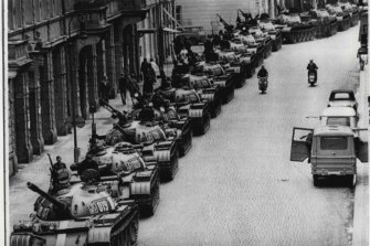 Russian tanks in the streets of Prague.