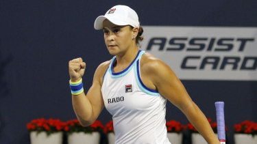 Barty reacts after her win over Kontaveit.