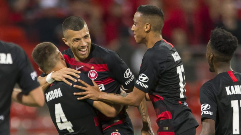 That'll do: Jaushua Sotirio's goal seals victory for the Mariners.