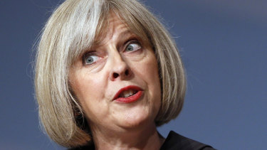 Then home secretary Theresa May speaks at the Conservative party conference in 2010.